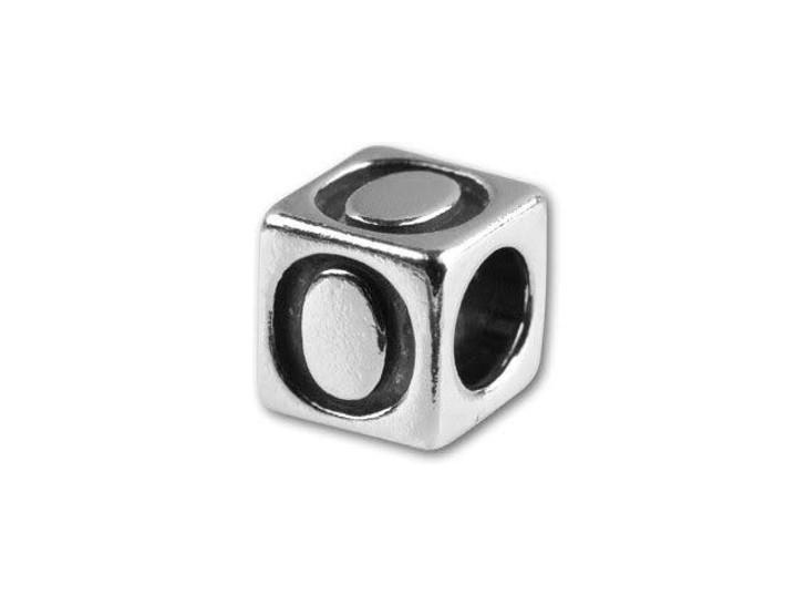 Sterling Silver 4.5mm Alphabet Bead - O