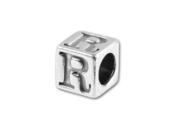 Sterling Silver 4.5mm Alphabet Bead - R