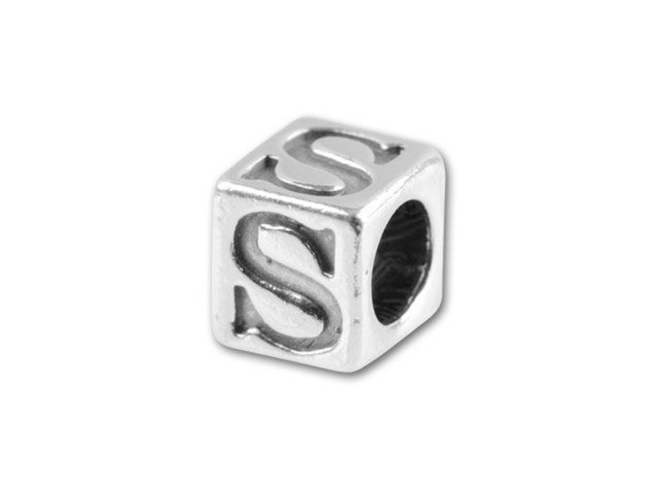 Sterling Silver 4.5mm Alphabet Bead -  S