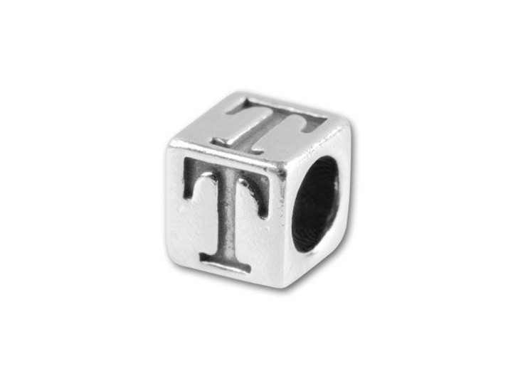 Sterling Silver 4.5mm Alphabet Bead - T