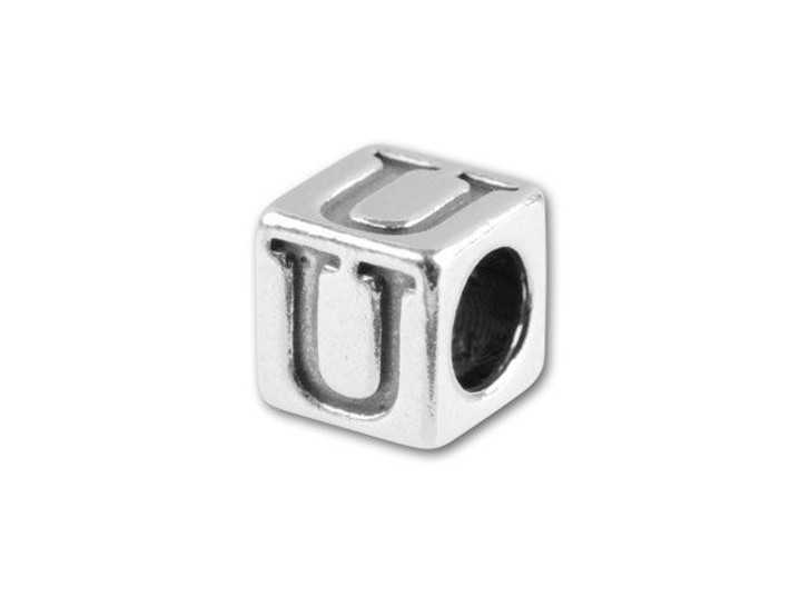 Sterling Silver 4.5mm Alphabet Bead - U