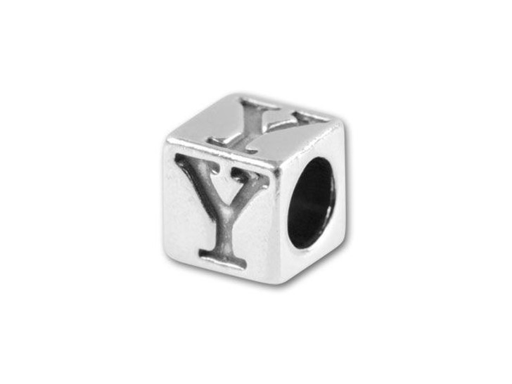 Sterling Silver 4.5mm Alphabet Bead - Y