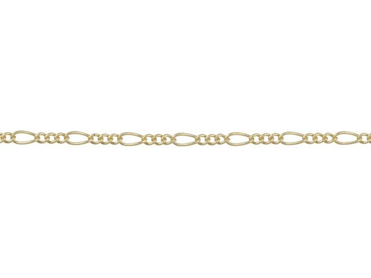 1mm Satin Hamilton Gold-Plated Brass Petite Figaro Chain By the Foot
