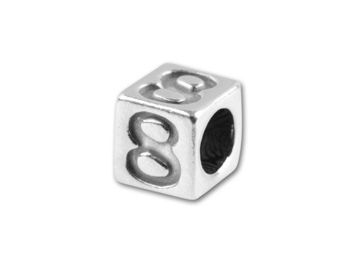 Sterling Silver 4.5mm Number Bead -  8