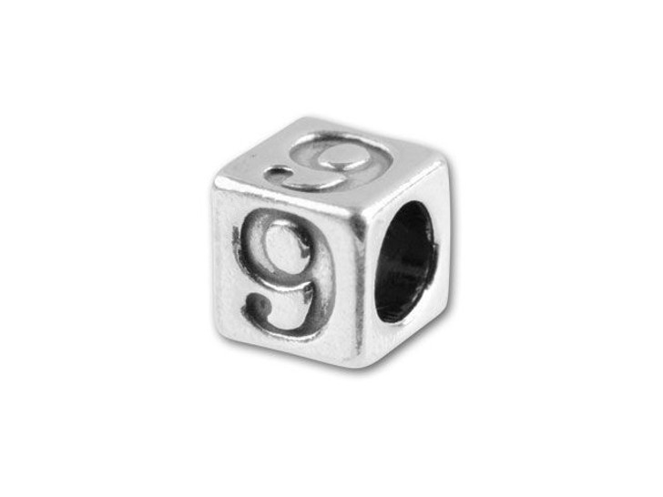 Sterling Silver 4.5mm Number Bead -  9