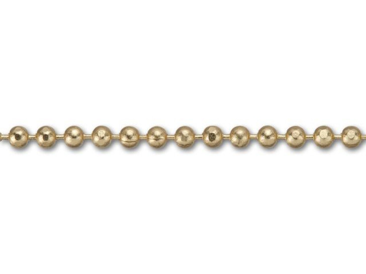 1mm Satin Hamilton-Gold Brass Diamond Cut Ball Chain By the Foot