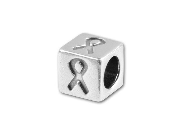 Sterling Silver 4.5mm Symbol Bead - Awareness Ribbon