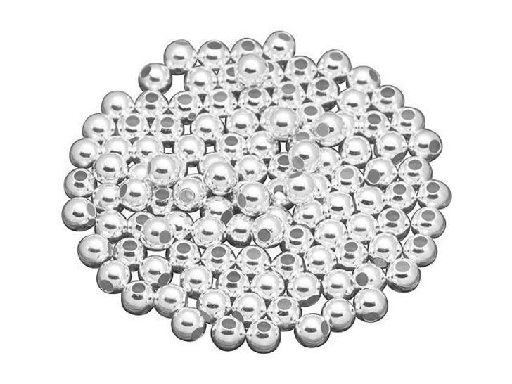 Sterling Silver 4mm Lightweight Seamless Round Medium Hole Bead Bulk Pack (100 Pcs)