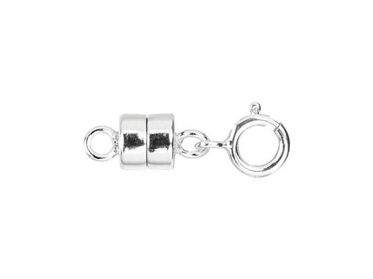 Sterling Silver 4mm Magnetic Clasp Converter with 5mm Spring Ring