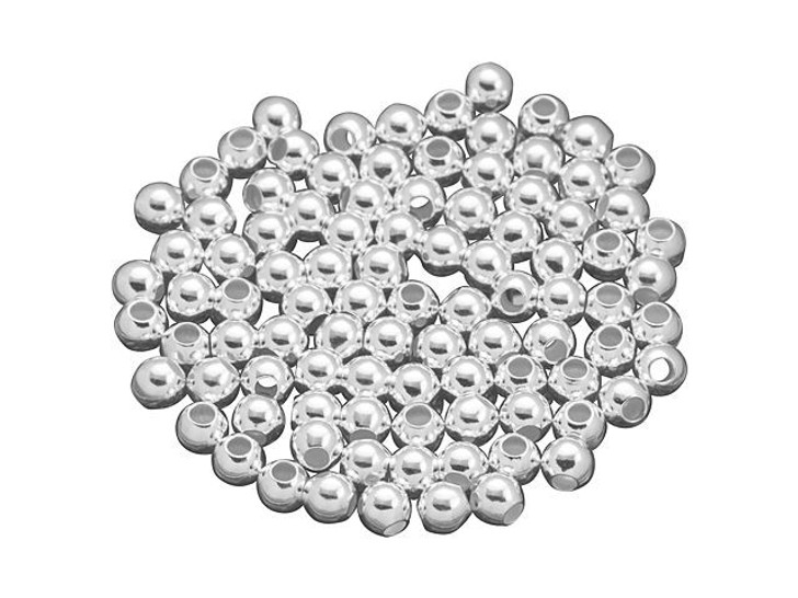 Sterling Silver 4mm Seamless Round Large Hole Bead Bulk Pack (100 Pcs)