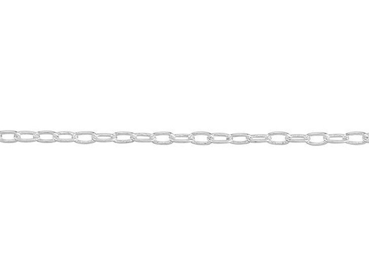 1mm Silver-Plated Brass Elegant Elongated Cable Chain By the Foot