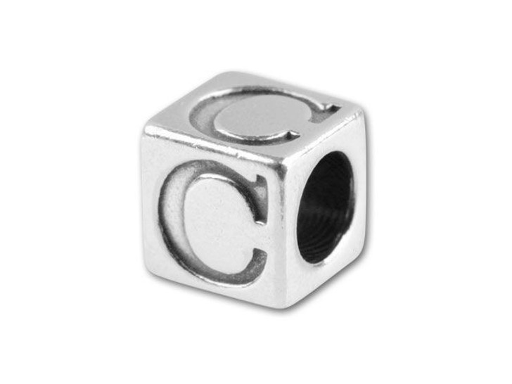 Sterling Silver 5.6mm Alphabet Bead - C