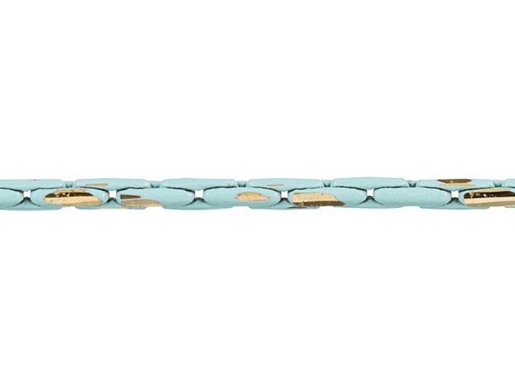 1mm Turquoise and Gold Two-Tone Beading Chain by the Foot