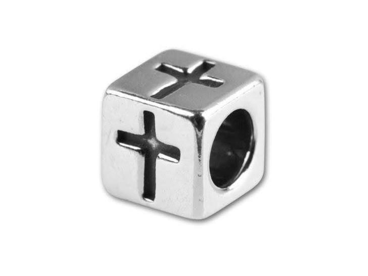 Sterling Silver 5.6mm Cross Bead
