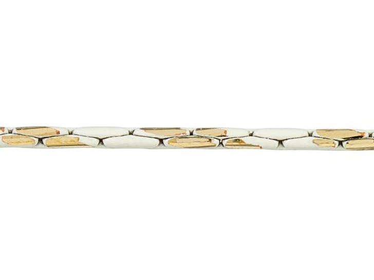 1mm White and Gold Two-Tone Beading Chain by the Foot