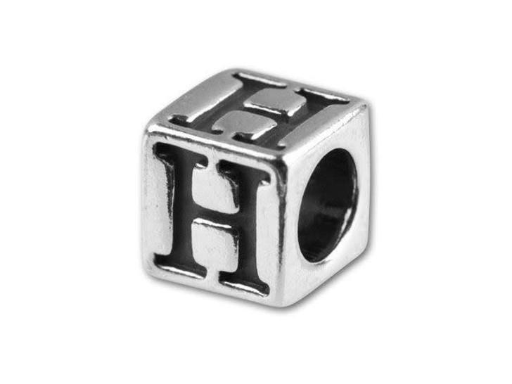 Sterling Silver 5.6mm Greek Letter Bead - Eta