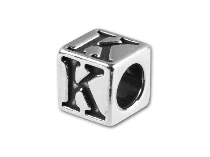 Sterling Silver 5.6mm Greek Letter Bead - Kappa