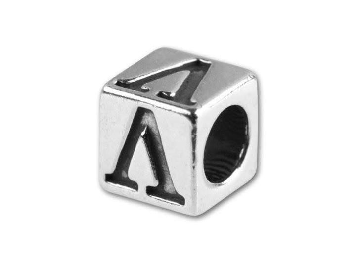 Sterling Silver 5.6mm Greek Letter Bead - Lambda