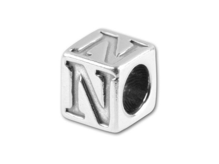 Sterling Silver 5.6mm Greek Letter Bead - Nu