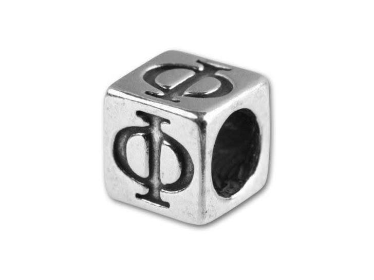 Sterling Silver 5.6mm Greek Letter Bead - Phi