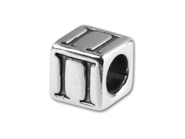 Sterling Silver 5.6mm Greek Letter Bead - Pi