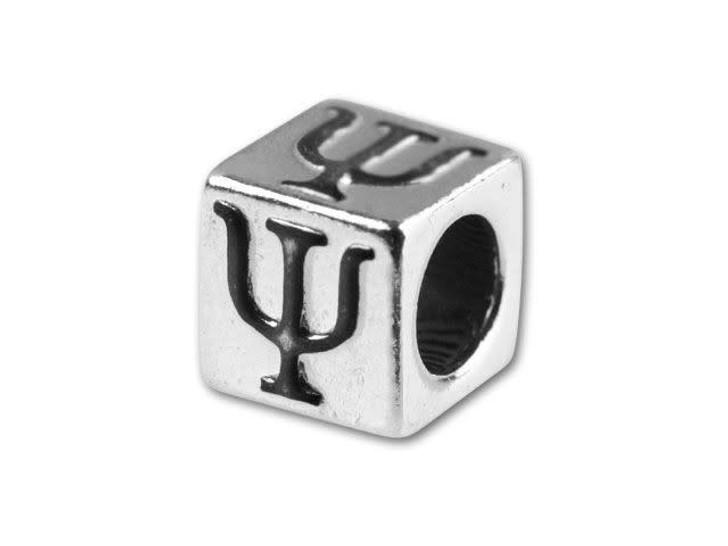 Sterling Silver 5.6mm Greek Letter Bead - Psi