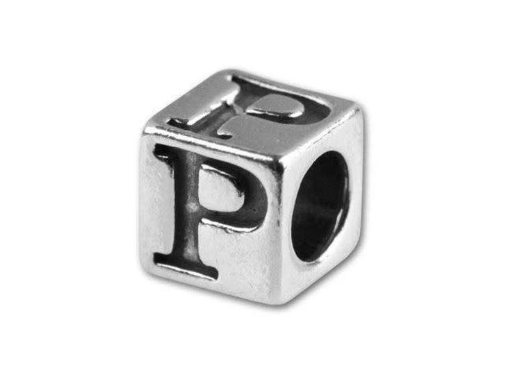 Sterling Silver 5.6mm Greek Letter Bead - Rho