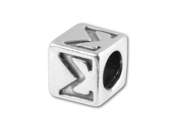 Sterling Silver 5.6mm Greek Letter Bead - Sigma