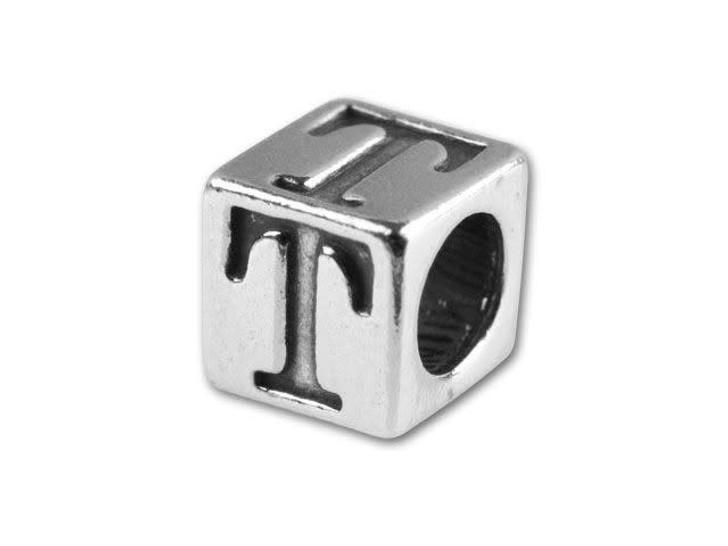 Sterling Silver 5.6mm Greek Letter Bead - Tau