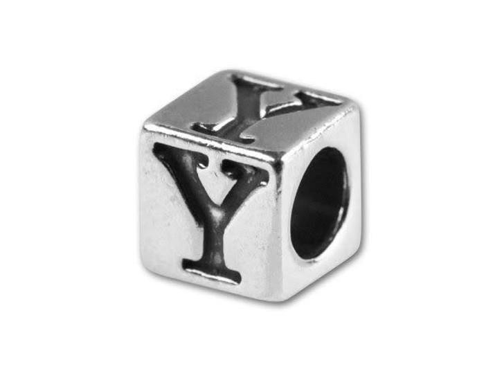 Sterling Silver 5.6mm Greek Letter Bead - Upsilon