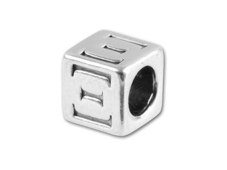 Sterling Silver 5.6mm Greek Letter Bead - Xi