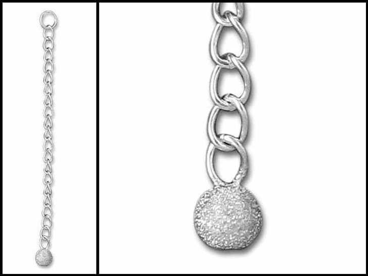 2 -2.5-inch Sterling Silver Extender With 4mm Stardust Bead