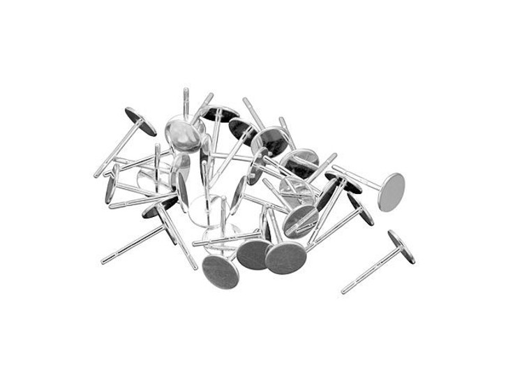 Sterling Silver 6mm Glue-On Earring Post, Bulk Pack (15 Pairs)
