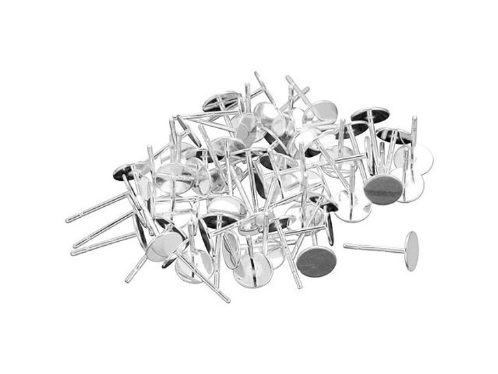 Sterling Silver 6mm Glue-On Earring Post, Bulk Pack (30 Pairs)