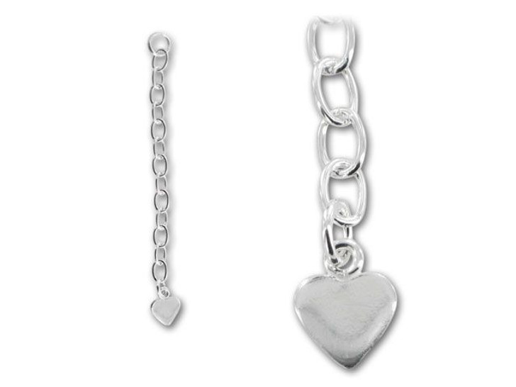 Two-inch chain extender with heart, anti-tarnish sterling silver for adding length to necklaces, bracelets, anklets.