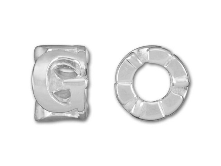 Sterling Silver 8mm Cut Out G Bead (4.7mm Hole)