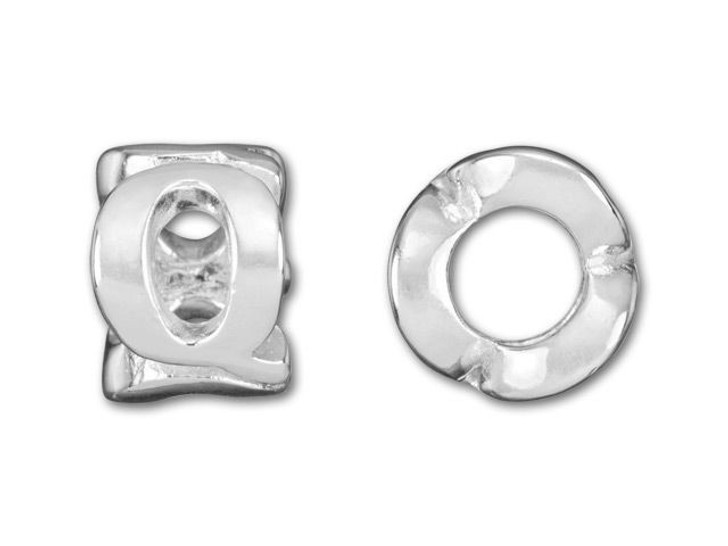 Sterling Silver 8mm Cut Out Q Bead (4.7mm Hole)