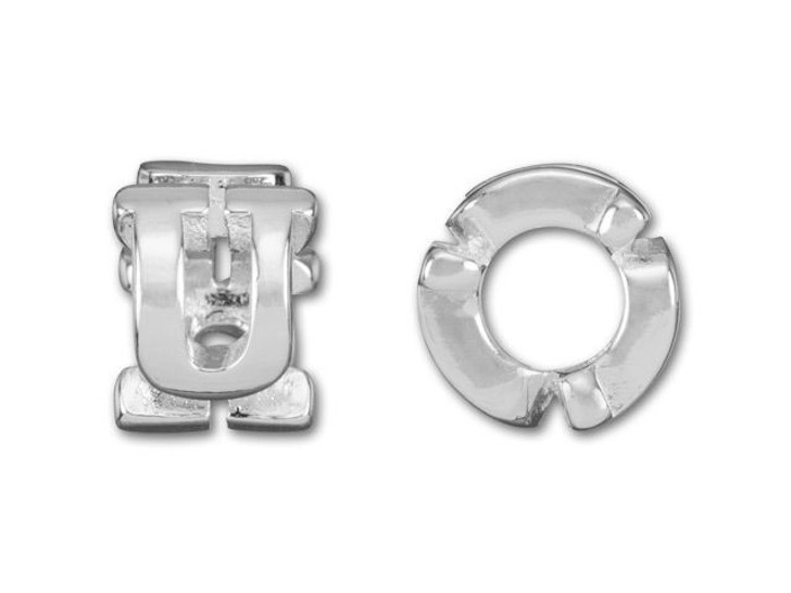 Sterling Silver 8mm Cut Out U Bead (4.7mm Hole)