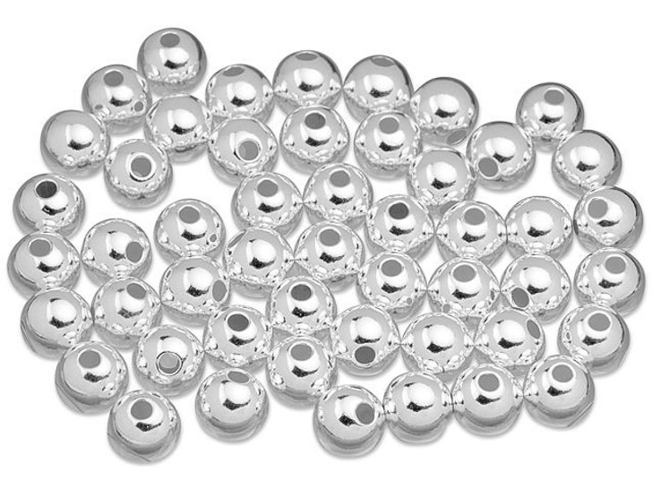 Sterling Silver 8mm Seamless Round Bead (2.0mm Hole) Bulk Pack (50 Pcs)