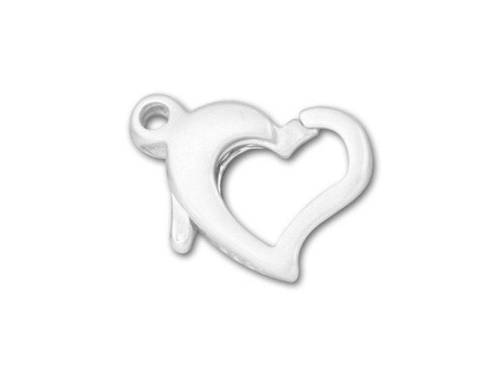 Sterling Silver 9.5x8mm Heart Trigger Clasp