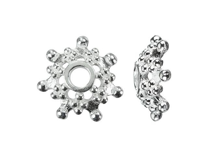 Sterling Silver 9mm Dotted Bead Cap