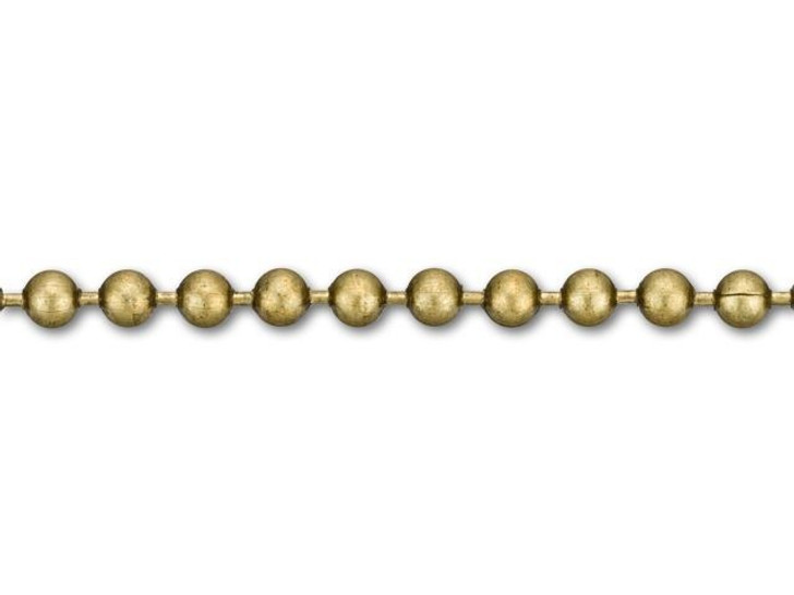 2.3mm Antique Brass-Plated Ball Chain by the Foot
