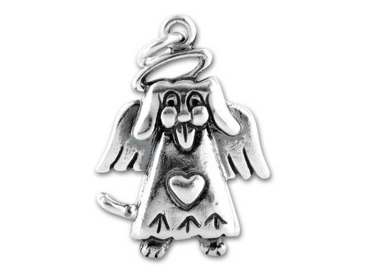 Sterling Silver Angel Puppy Charm