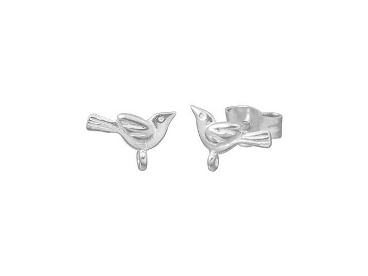 Sterling Silver Bird Earring Posts (Pair)