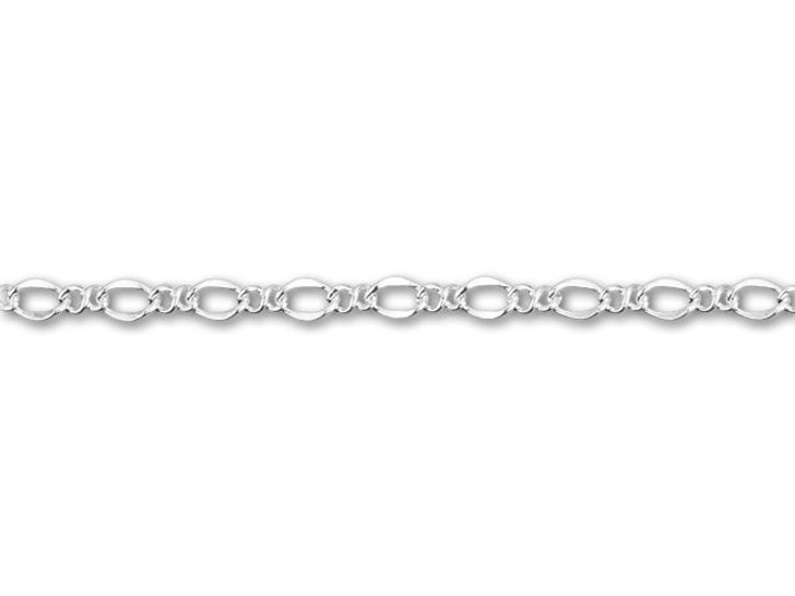 2.3mm Silver-Plated Figaro Chain By the Foot