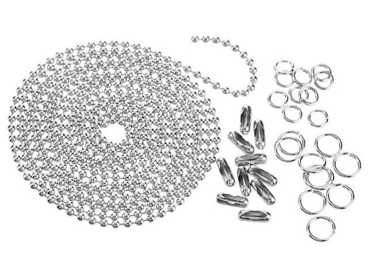 2.3mm Silver-Plated Steel Ball Chain and Findings Bundle