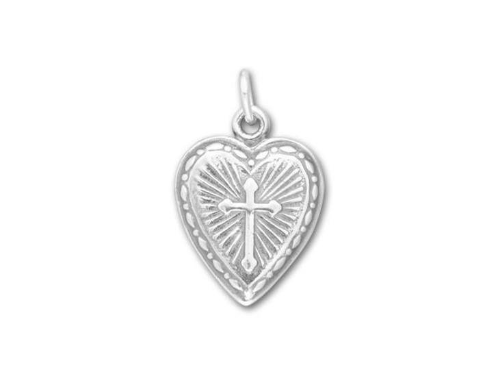 Sterling Silver Cross in Heart with Sun Charm