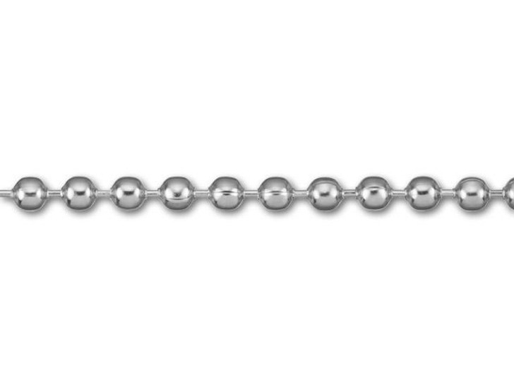 2.3mm Silver-Plated Steel Ball Chain by the Foot
