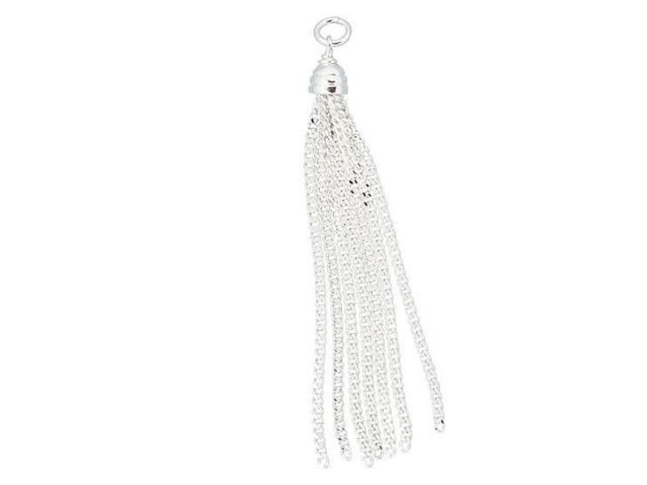 Sterling Silver Curb Chain Tassel Charm