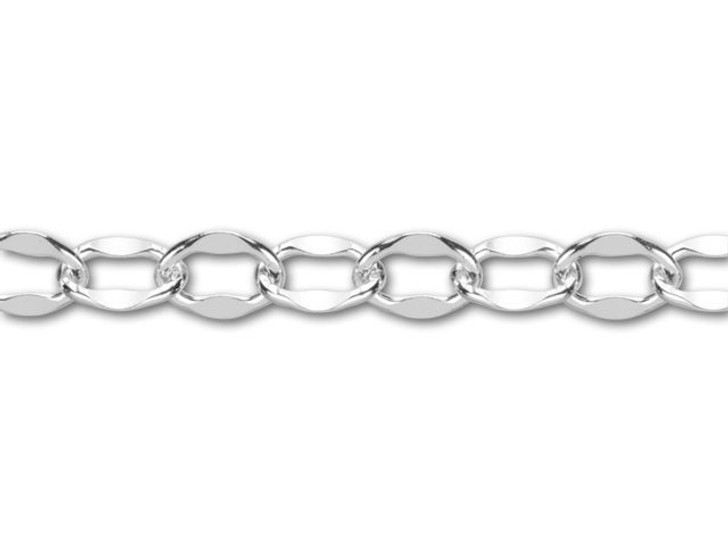 Sterling Silver Dapped Cable Chain by the Foot